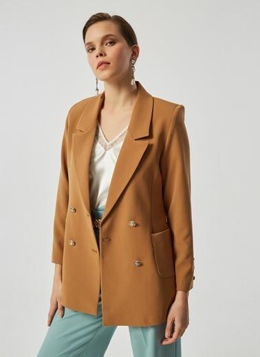 Monamoda Metal Düğmeli Blazer Ceket Camel